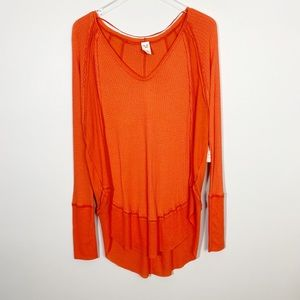 FREE PEOPLE Catalina Thermal Top M New Flame Long